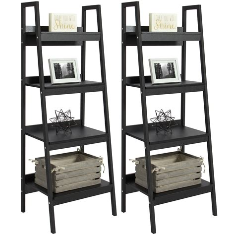 metal ladder shelf altra metal ladder bookcase set of 2 black walmart