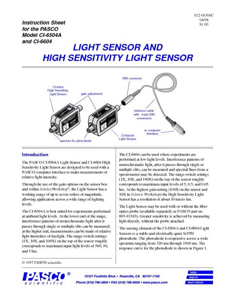 Pasco Light Sensor High