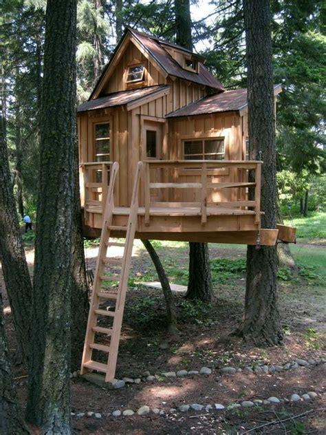 ein fantastisches baumhaus mit einer holztreppe tree