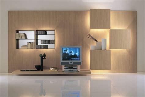 Wohnwände Modern Holz by Mueble Con Led Integrado Unidades De Pared Asombrosas
