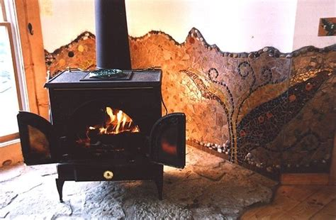 wood stove tile cabin