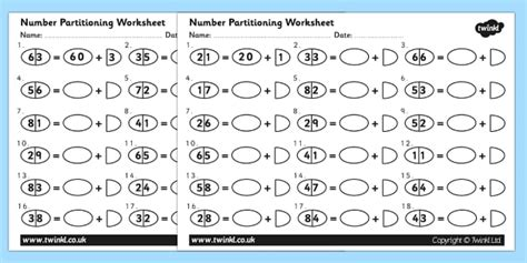 tens and ones number partitioning worksheet number