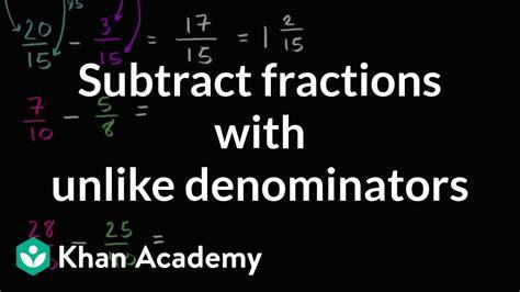 subtracting fractions   denominators youtube