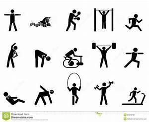 Black Fitness People Icons Set Stock Photo - Image: 34976760