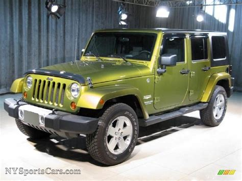 green jeep 2008 jeep wrangler unlimited sahara 4x4 in rescue green