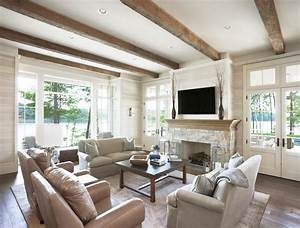 Fireplace beams living room traditional with wide plank