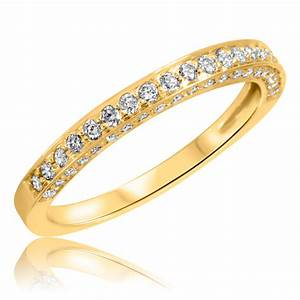 3 8 carat tw round cut diamond ladies wedding band 14k With 14k yellow gold wedding ring