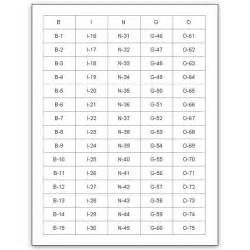 Printable Bingo Call Numbers