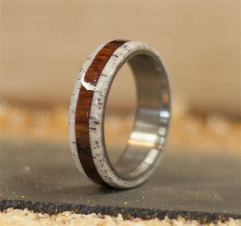 ironwood antler wedding band   titanium