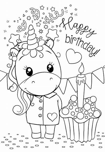 Coloring Unicorn Birthday Happy Printable Einhorn Coloriage