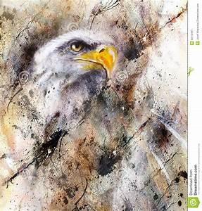 Tache De Couleur Peinture Fond Blanc : belle peinture de l 39 aigle sur un fond abstrait couleur avec des structures de tache ~ Melissatoandfro.com Idées de Décoration