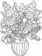 Coloring Pages Bouquet Flower Flowers Adult Printable Vase Adults Floral Drawings Magic Mandala Rose sketch template