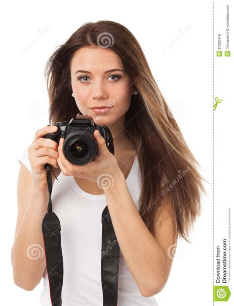 pretty female photographer royalty  stock image