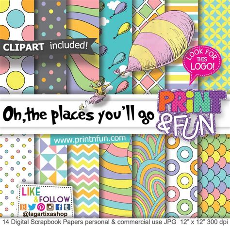 places youll  dr seuss digital paper patterns