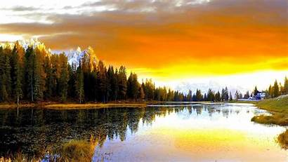 Yellow Wallpapers Forest Sky Reflection Sunset Lake