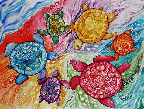 colors of the turtles turtles color wheel painting by emily michaud