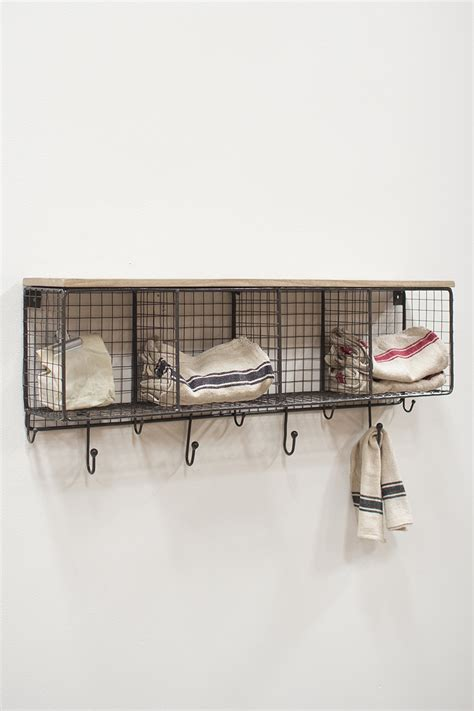 wire mesh  horizontal cubbies  wooden top