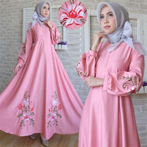 gamis maxi baloteli  pink baju muslim modern bajugamiskucom