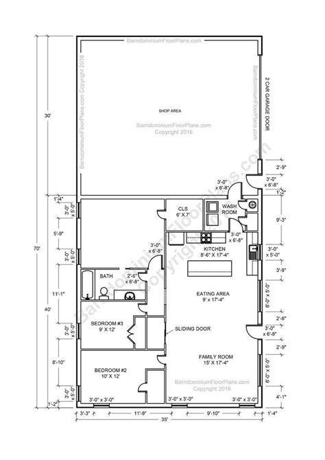 Tiny meets farmhouse as vertical siding and a big barn door give this barndominium design a rustic vibe. barndominium floor plans 2 story, 4 bedroom, with shop ...