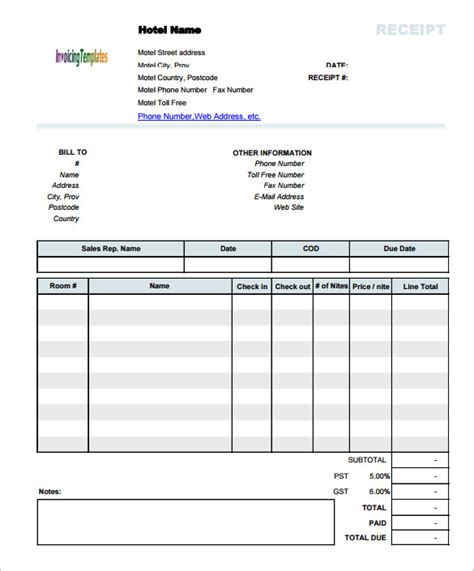 receipt template doc invoice template for mac