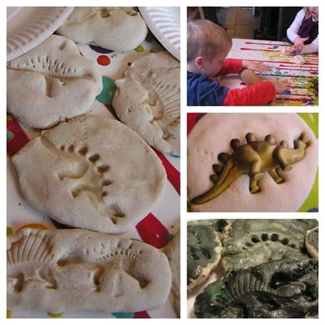 quick  easy dinosaur fossils  flour dough