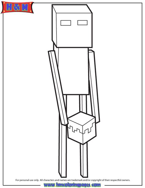 endermen holding block coloring page   coloring pages