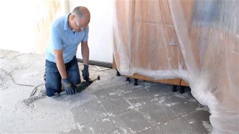 update projekt k 252 che renovieren teil 7 risse im estrich und fliesenkleber entfernen