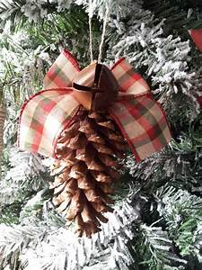 Diy, Pine, Cone, Ornament, With, Bell, And, Bow