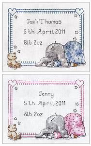 Sleepy Baby Birth Sampler Cross Stitch Kit Sewandso