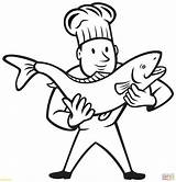 Coloring Pages Trout Fish Cook Chef Nurse Holding Drawing Needle Professions Clipart Preschool Brook Printable Clip Cooking Getdrawings Getcolorings Factory sketch template