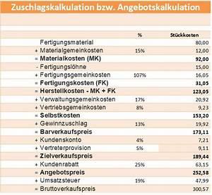 Herstellkosten Berechnen Excel : zuschlagskalkulation angebotskalkulation ~ Themetempest.com Abrechnung