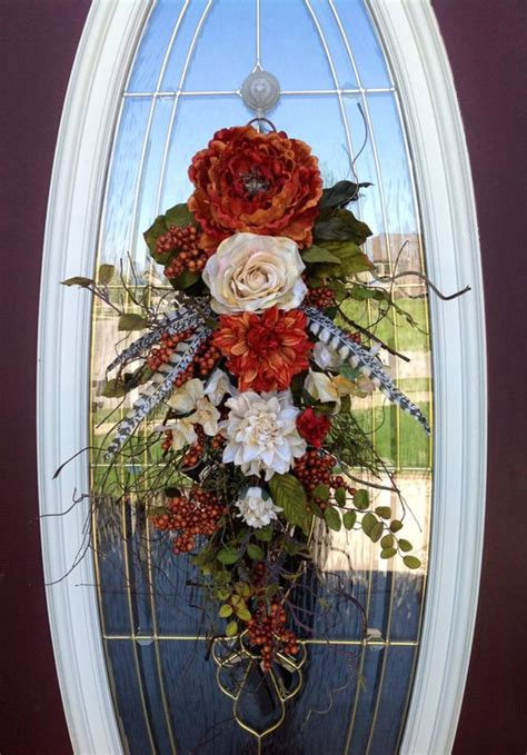 fall door wreath teardrop swag orange berry branches
