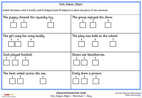 verb subject object ks spag test practice classroom