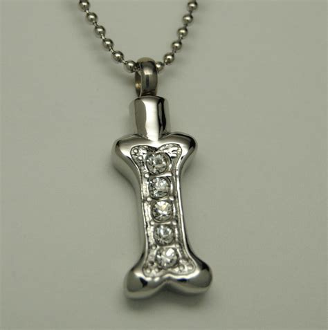 dog bone cremation urn necklace pet urn cz cremation