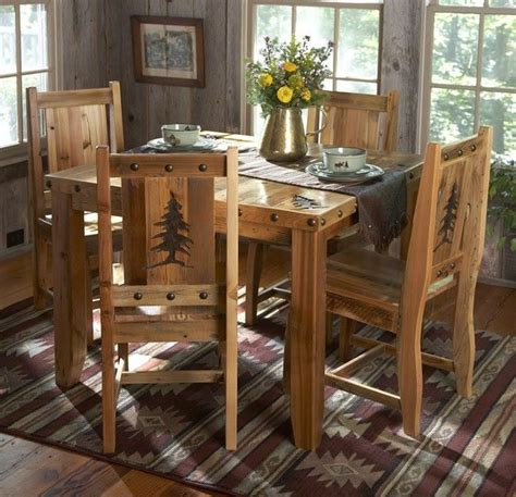 Rustic Kitchen Table Set  Country Western Log Cabin Wood