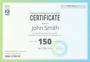 Bmi certified iq test take the most accurate online iq test for Iq certificate template