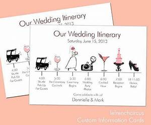 Wedding timeline itinerary information card by for Wedding rsvp cards timeline