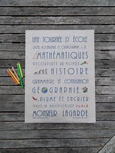Cadeau Pour Maitresse D École : toile en lin th me ecole cadeau personnalis pour une ~ Melissatoandfro.com Idées de Décoration