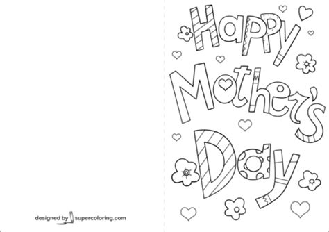 happy mothers day card coloring page  printable