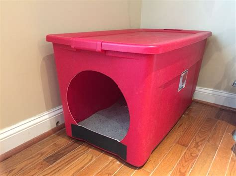 Homemade Litter Box From A Large Storage Container. Made For Our Large Cat That Had Problems Diy Mirrored Coffee Table Tank Tracks Rustic Pinterest Home Projects Wooden Dog Crate Face Serum Mr Potato Head Costume Candles