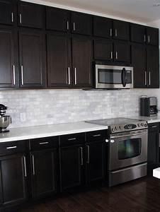 Dark birch kitchen cabinets with shining white quartz for Kitchen backsplash pictures with dark cabinets
