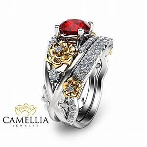 floral ruby engagement ring set 14k two tone gold rings With wedding rings with rubies