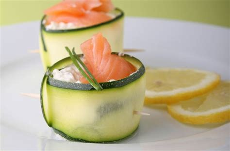 easy no cook canapes 50 and easy canapes courgette curls with salmon