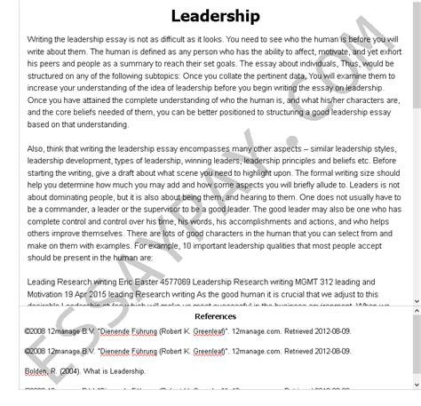 Of papers free examples thesis. Leadership Essay Example for Free - 1034 Words | EssayPay