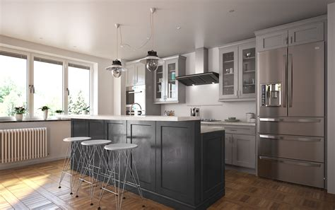 Society Shaker Steel Gray Kitchen Cabinets  Willow Lane