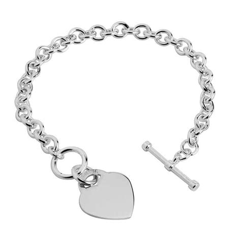 Solid Sterling Silver T-Bar Bracelet With Heart Charm