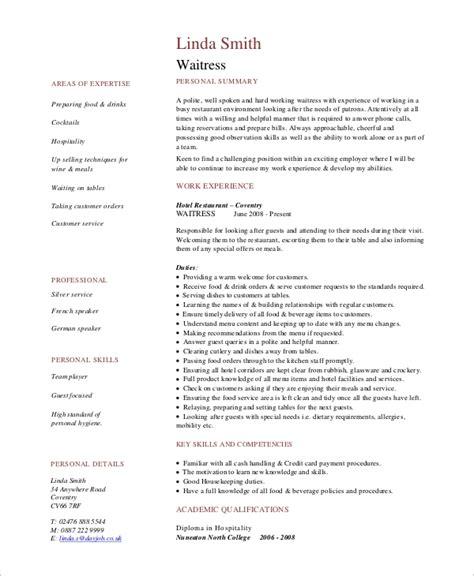 Waitress Duties Resume by 6 Sle Waitress Resumes Pdf Word