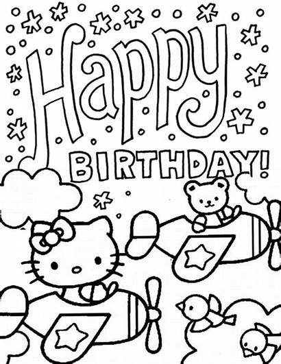 Coloring Kitty Hello Birthday Pages Bear Printable
