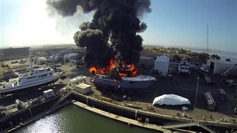 Fire Boat San Diego by Drone Films Yacht Fire San Diego Calif By Kurt Roll