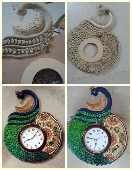 procedure  making peacock wall clock simple craft ideas